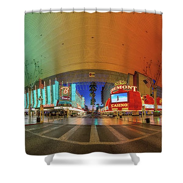 Fremont Street Experience Panorama 3 To 1 Aspect Ratio Shower Curtain