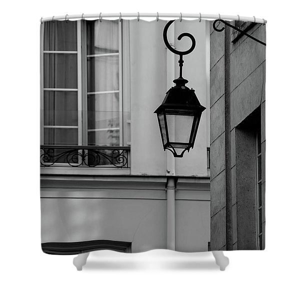 French Alley Lantern-black And White Shower Curtain