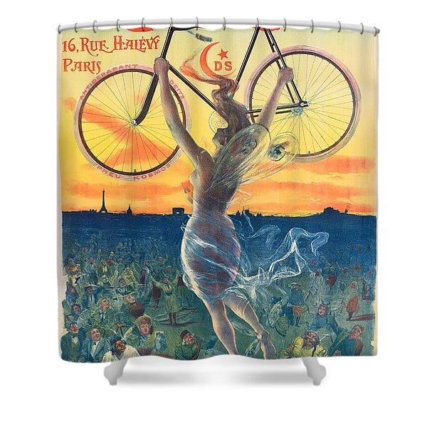 French Art Nouveau Poster For Deesse Bicycles, Circa 1898 Shower Curtain