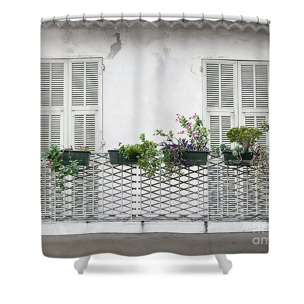 French Balcony With Shutters Shower Curtain