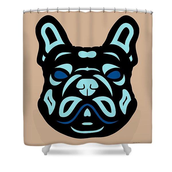 French Bulldog Francis - Dog Design - Hazelnut, Island Paradise, Lapis Blue Shower Curtain