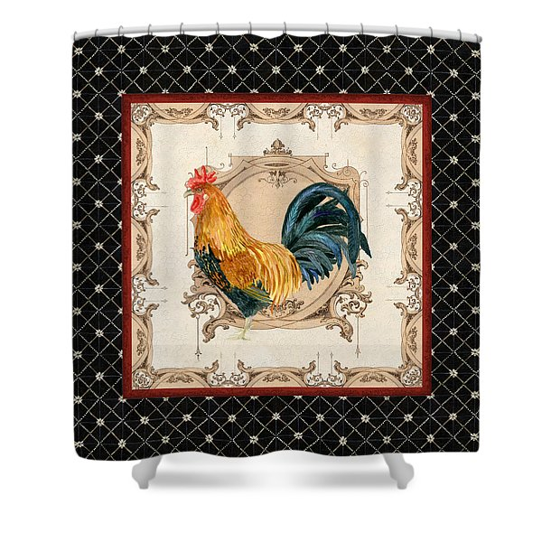 French Country Roosters Quartet 4 Shower Curtain