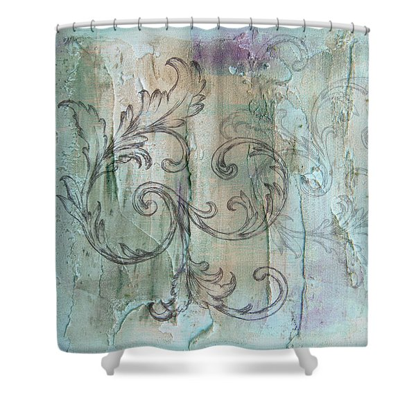 French Country Scroll In Muted Blue Shower Curtain