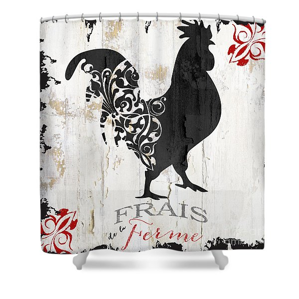French Farm Sign Rooster Shower Curtain