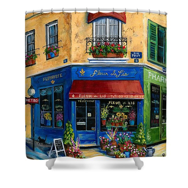 French Flower Shop Shower Curtain