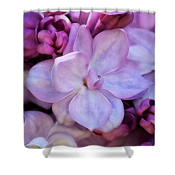 French Lilac Flower Shower Curtain