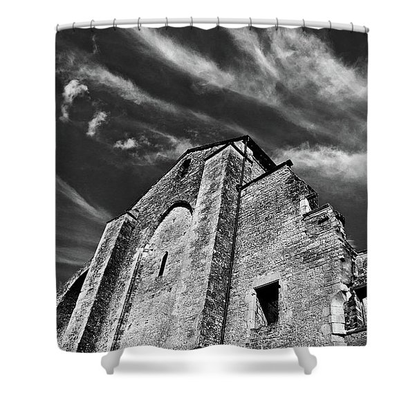 Shower Curtain featuring the photograph French Middle Age Kisses The Dark Sky by Silva Wischeropp