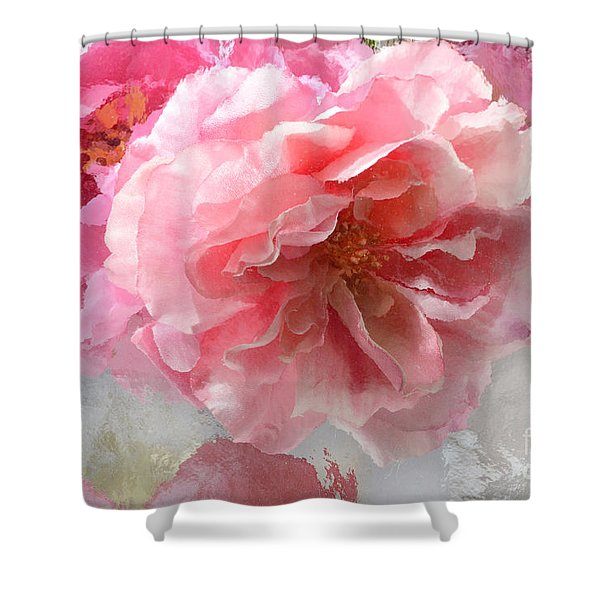 French Shabby Chic Romantic Impressionistic Pink Roses - Painted Pink French Roses Belle Fleur  Shower Curtain