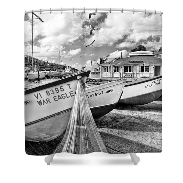Frenchtown Fishing Boats 1 Shower Curtain