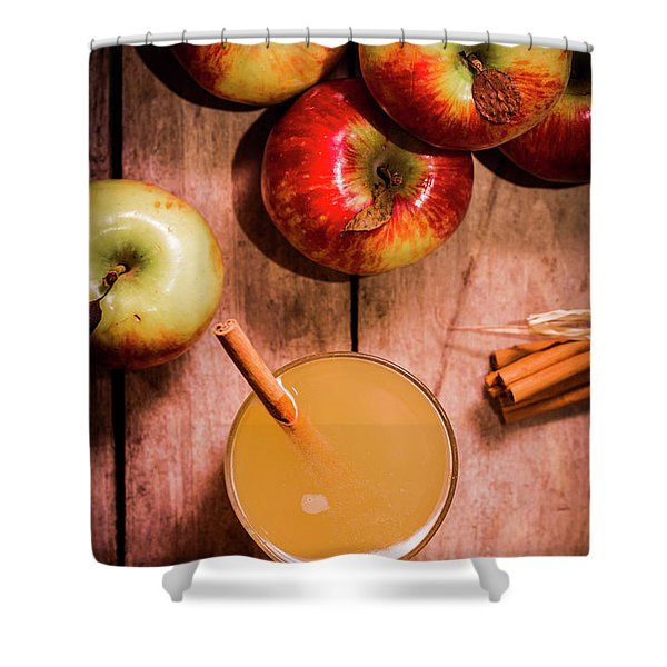 Fresh Apple Cider With Cinnamon Sticks And Apples Shower Curtain