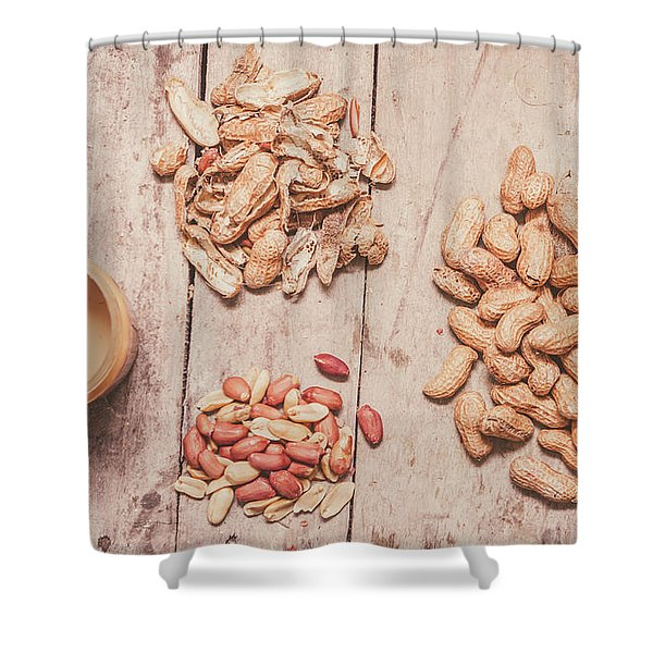 Fresh Peanuts, Shells, Raw Nuts And Peanut Butter Shower Curtain