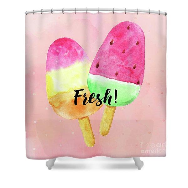 Fresh Summer Refreshing Fruit Popsicles Shower Curtain