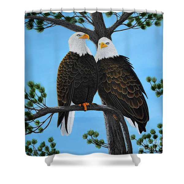 Shower Curtain featuring the painting Friends by Tracey Goodwin