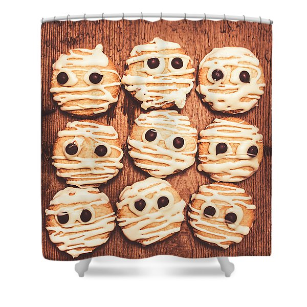 Frightened Mummy Baked Biscuits Shower Curtain