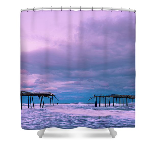 Shower Curtain featuring the photograph Frisco Fishing Pier And Clouds Panorama by Ranjay Mitra