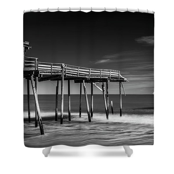 Shower Curtain featuring the photograph Frisco Fishing Pier In Black And White Panorama by Ranjay Mitra