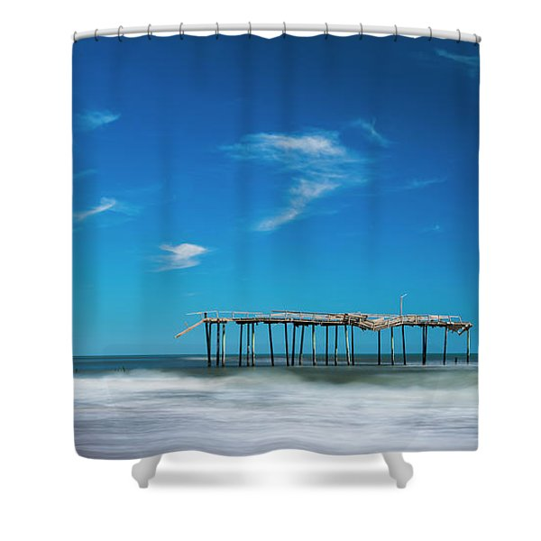 Shower Curtain featuring the photograph Frisco Fishing Pier In North Carolina Panorama by Ranjay Mitra