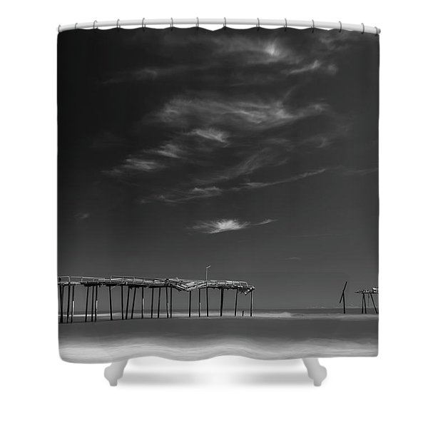Shower Curtain featuring the photograph Frisco Pier In North Carolina And Clouds In Black And White by Ranjay Mitra