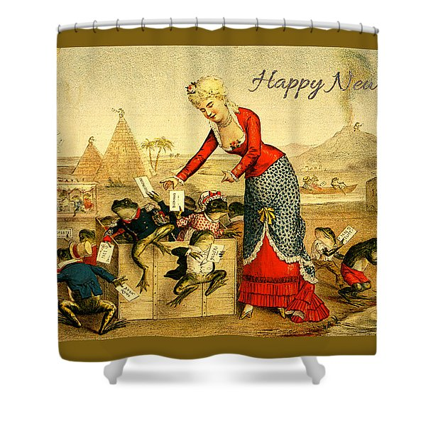 Shower Curtain featuring the photograph Card New Year Frogs by Robert G Kernodle