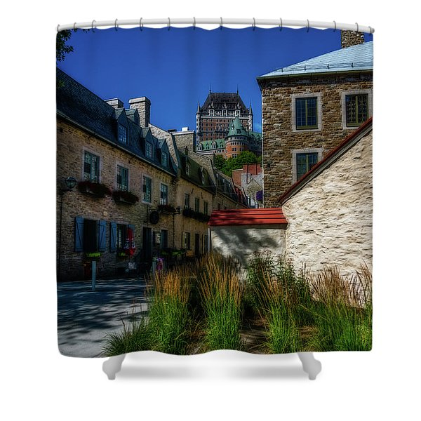 From Below Fairmont Le Chateau Frontenac Shower Curtain