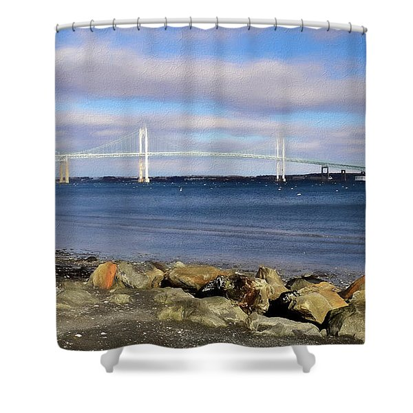 Shower Curtain featuring the photograph From The Shores Of Jamestown by Nancy De Flon