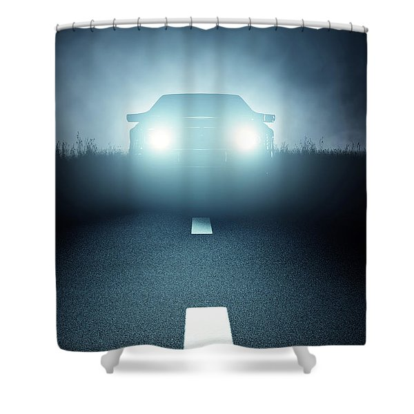 Front Car Lights At Night On Open Road Shower Curtain