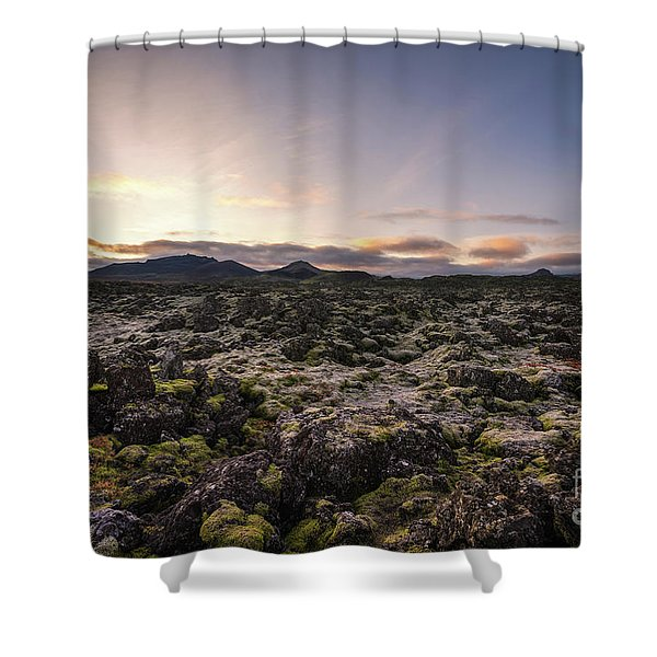 Frost Covers The Lava Field  Shower Curtain