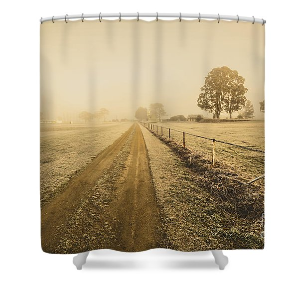 Frosted Road In Outback Australia Shower Curtain