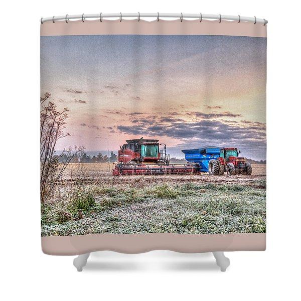 Frosty Farm Morning Shower Curtain