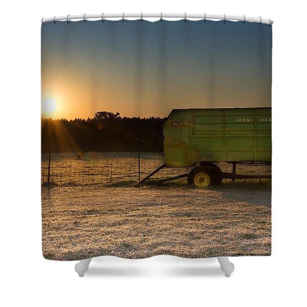 Frosty John Deere Sunrise Shower Curtain