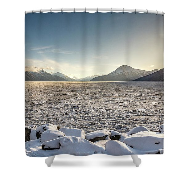 Frozen Fjord Sunrise Shower Curtain