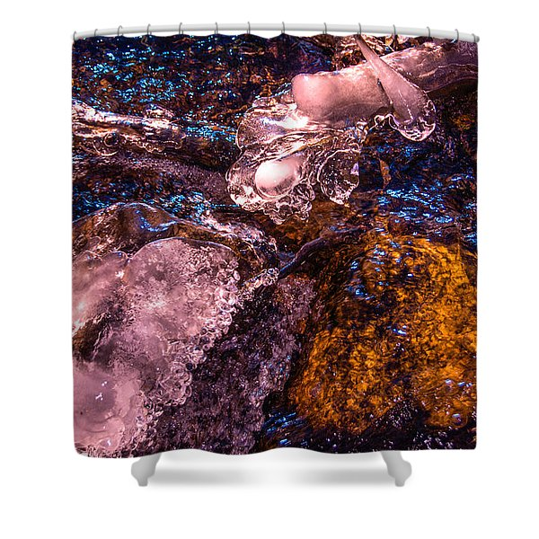 Frozen Lake Abstract Shower Curtain