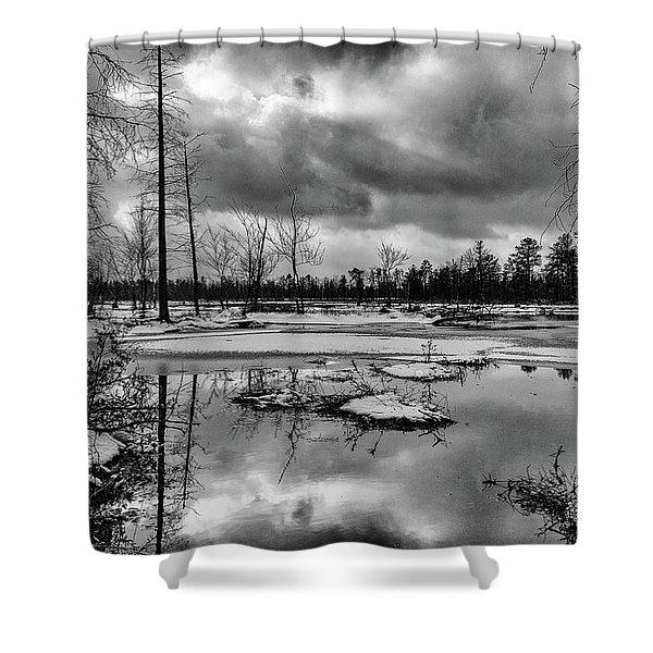 Frozen Mullica River Shower Curtain