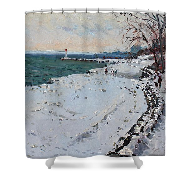 Frozen Shore In Oakville On Shower Curtain