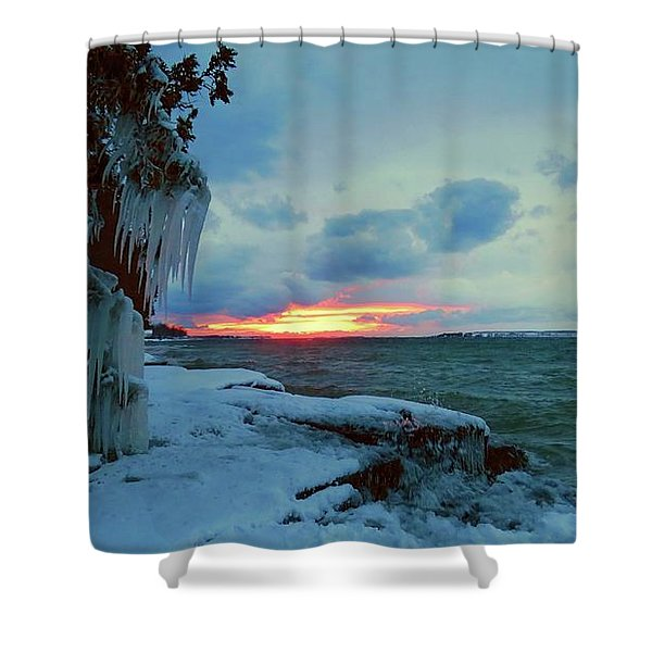 Frozen Sunset In Cape Vincent Shower Curtain