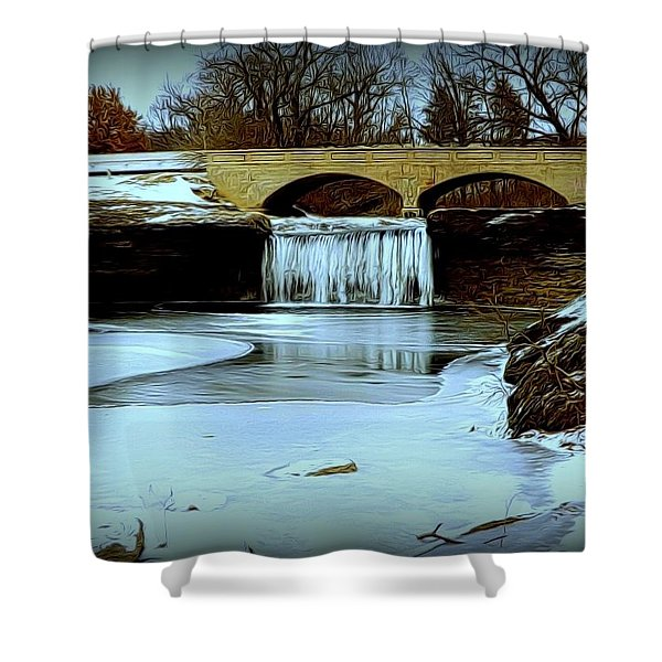 Frozen Tryst Falls, Mo  Shower Curtain