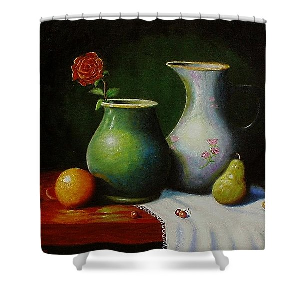 Fruit And Pots. Shower Curtain