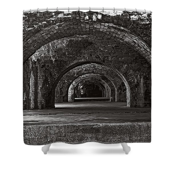 Ft. Pickens Arches Bw Shower Curtain