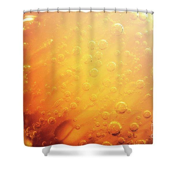 Full Frame Close Up Of Orange Soda Water Shower Curtain
