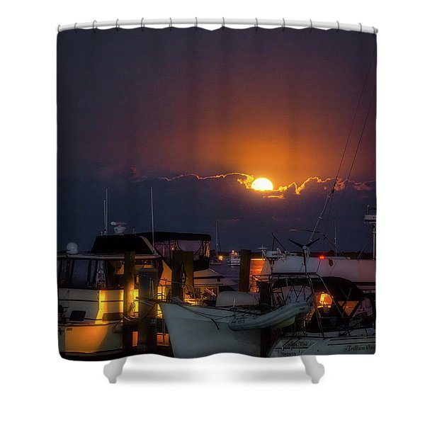 Full Moon At Titusville Shower Curtain
