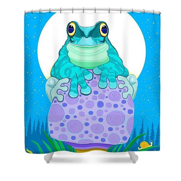 Full Moon Froggy  Shower Curtain