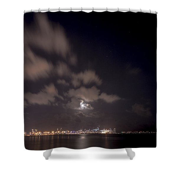 Full Moon In Miami Shower Curtain
