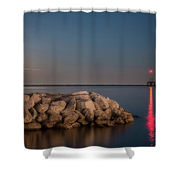 Full Moon In Port Shower Curtain