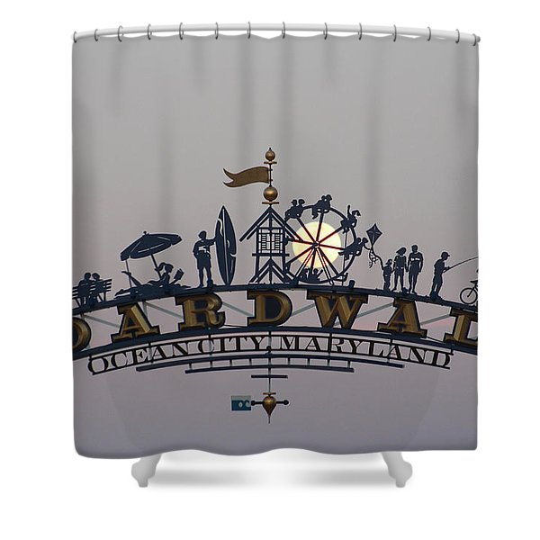 Full Moon In The Boardwalk Arch Ferris Wheel Shower Curtain
