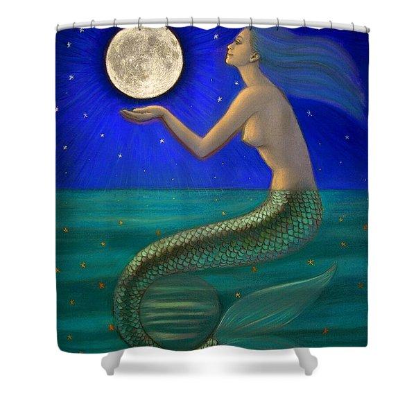 Full Moon Mermaid Shower Curtain