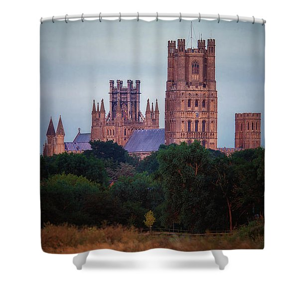 Full Moon Over Ely Cathedral Shower Curtain