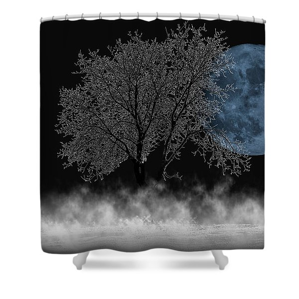 Full Moon Over Iced Tree Shower Curtain