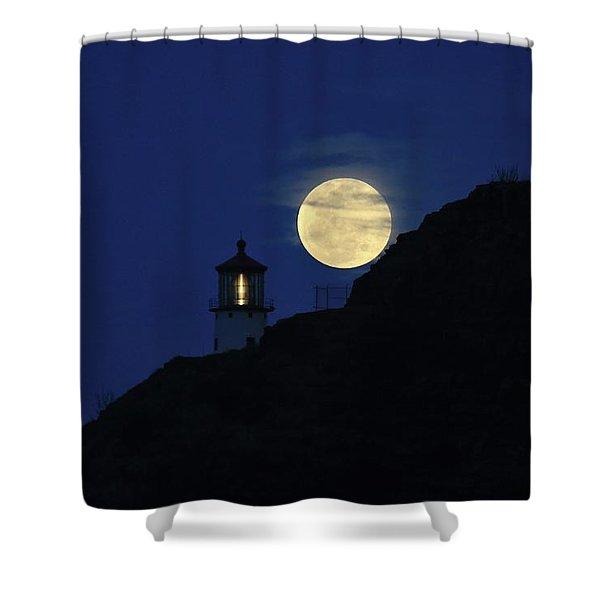 Full Moon Over Makapu'u Light Shower Curtain