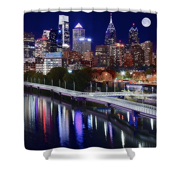 Full Moon Over Philly Shower Curtain