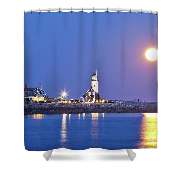 Full Moon Over Scituate Light Shower Curtain